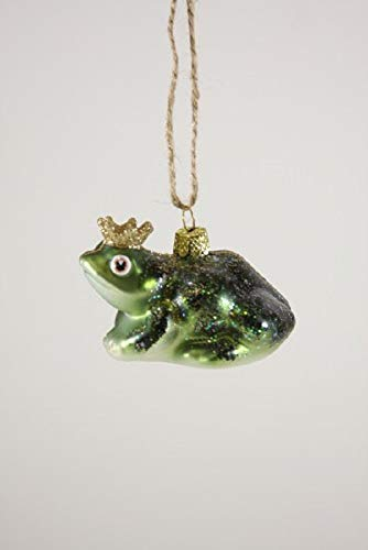 Cody Foster & Co Frog Prince Glitter Glass Hanging Ornament