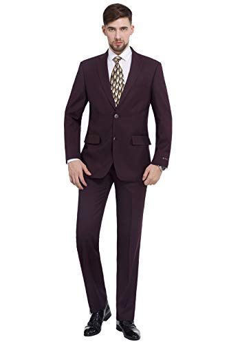 - P&L Men's 2-Piece Classic Fit 2 Button Office Dress Suit Jacket Blazer & Pleated Pants Set Burgundy