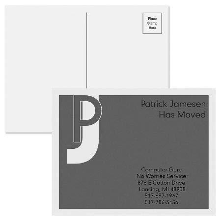 Black Metro New Address Postcards - Set of 24 5-1/4'' x 4'' post cards