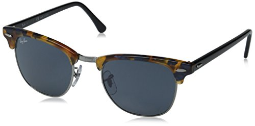 Ray-Ban RB3016 Clubmaster Square Sunglasses, Spotted Blue Tortoise/Blue Grey, 49 ()