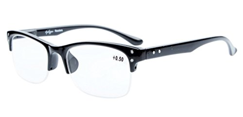 Eyekepper Readers Plastic Frame Spring Hinges Half-rim Reading Glasses Black - Less Rim Glasses