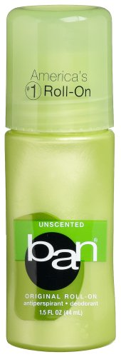 Ban Original Roll-On Antiperspirant Deodorant, Unscented, 1.5-Ounces (Pack of 6)