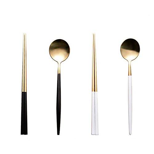 Autohome 2 Spoons And 2 Pairs Chopsticks Saintless Steel Dinner Flatware   White Golden Black Golden