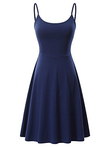 (VETIOR Women's Sleeveless Adjustable Strappy Flared Midi Skater Dress (Medium, Navy))