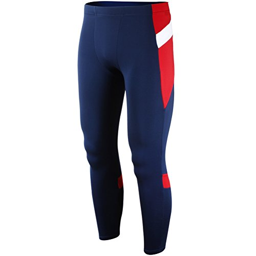 SUPERBODY Men's Compression Cool Dry Sports Tights Pants Running Leggings_Navy_M - Shield Fleece Pant