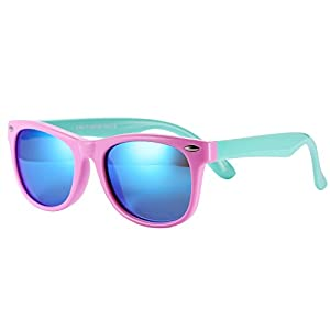 Pro Acme TPEE Rubber Flexible Kids Polarized Wayfarer Sunglasses for Baby and Children Age 3 -10 (Pink Frame/Blue Mirrored Lens)