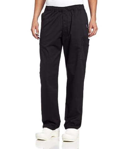 Landau Men's Modern Fit Cargo Scrub Pant, Black, Medium/Tall - Elastic Cargo Scrub Pants