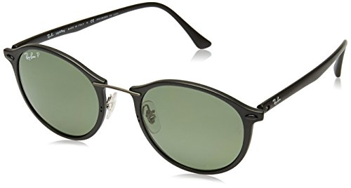 Ray-Ban Injected Unisex Polarized Round Sunglasses, Matte Black, 49 - Ray Clubmaster Titanium Ban
