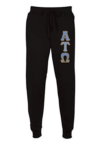 - Alpha Tau Omega Embroidered Twill Letter Joggers Black Light Blue Extra Large