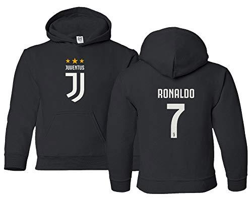 (Spark Apparel Soccer Shirt #7 Cristiano Ronaldo Juve CR7 Boys Girls Youth Hooded Sweatshirt (Black, Youth Large))