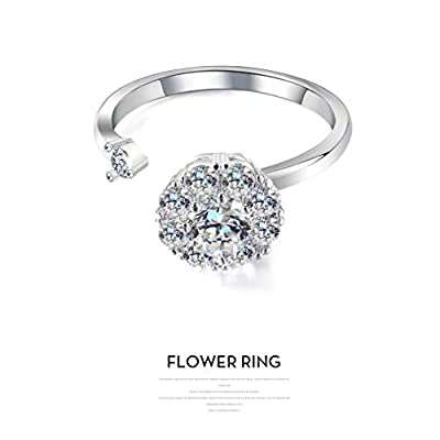 Womens Girls Open Flower Spinner Ring Cubic Zirconia Anxiety Engagement Wedding Band ADHD Stress Relief Fidget Toys (Silver): Jewelry
