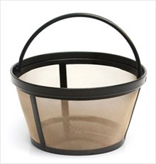 Permanent Basket-Style Gold Tone Coffee Filter designed for Mr. Coffee 10-12 Cup Basket-Style Coffeemakers (1, A) (Coffe Basket)