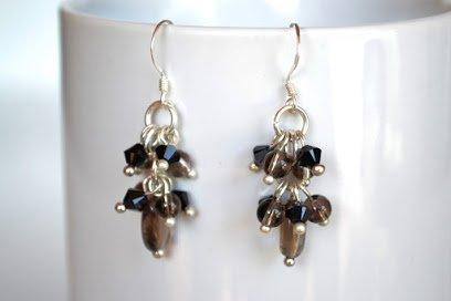 Smoky Quartz Drop Shape Silver Earring Gem Stone Handmade by Flower GemStone