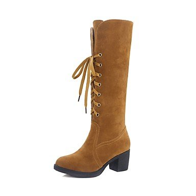 EU38 Casual Leather Nubuck Lace Green Knee Wine US7 Lining Up Comfort Boots Women'S 5 Round For Heel High Toe RTRY 5 Shoes Spring CN38 UK5 Fall Chunky Fluff Boots RTw4wxtEq