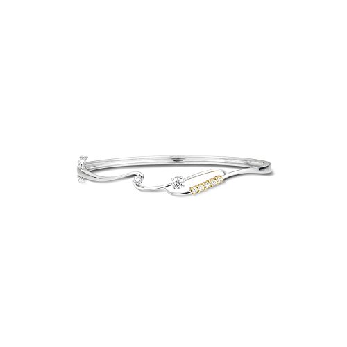 0.35-0.40 Cts SI2 - I1 clarity and I-J color Diamond Bangle in 18K Two Tone Gold