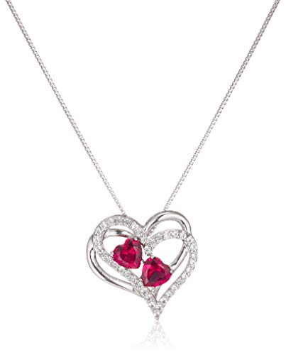 Sterling Silver Created Ruby and White Sapphire Double Heart Pendant Necklace, 18