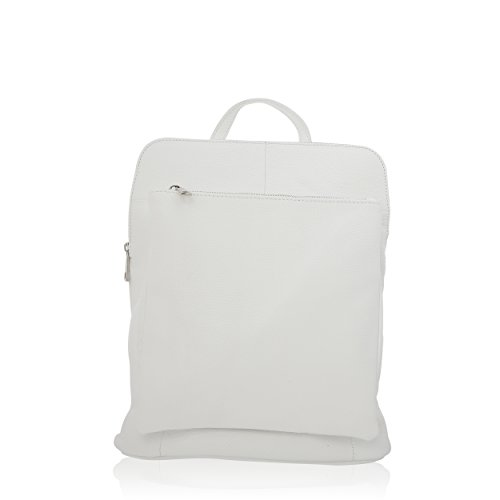 Women Bag Backpack Made In Florence Genuine Leather 29 * 37 * 11 Cm White
