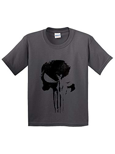 (Trendy USA 1153 - Youth T-Shirt Daredevil Punisher Skull Blackout Logo Small Charcoal)