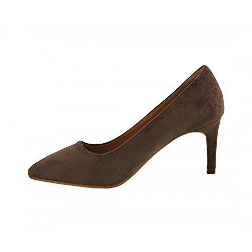 medio salón Benavente Taupe tacón Zapato ante de taupe Benavente w6xzIqH4n