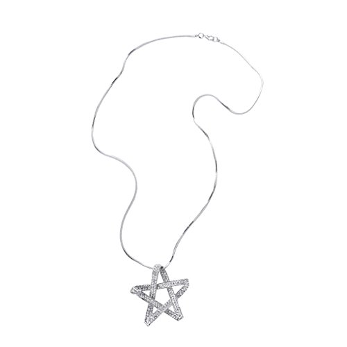 Star Charms Necklace Pentagram Lady Girls Snake Chain Necklace - Silver ()