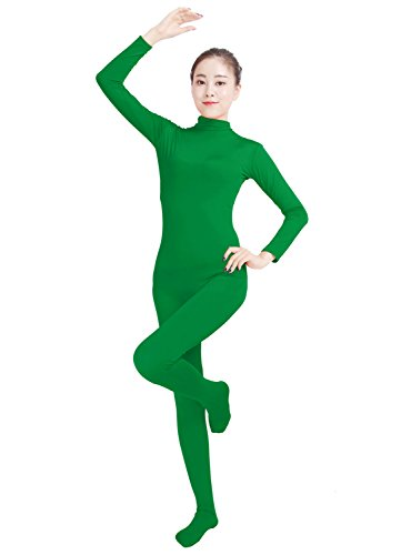 [Ensnovo Womens Lycra Spandex Zentai Suits One Piece Footed Unitard Green,M] (Green Man Body Suit)