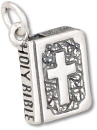 Sterling Silver Bible (Dove on back) Charm with Split Ring - Item #35022