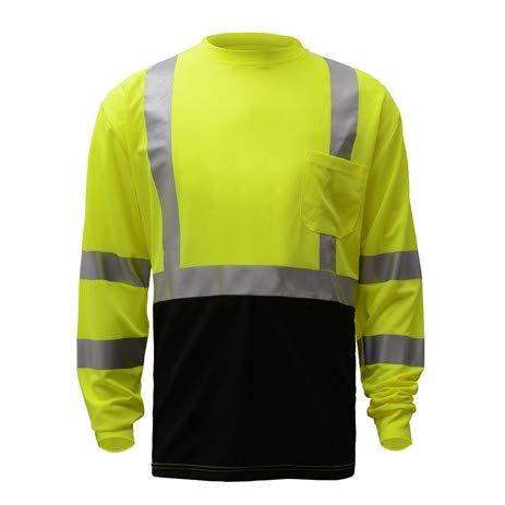 Small GSS Safety 3 PACK Class 3 Long Sleeve Black Bottom T-Shirt