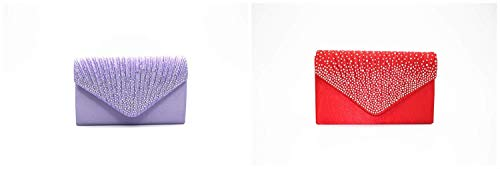 chiaro colore Pochette satinato per Party Home Diamond di da signora Meidi viola sera Satin XxwqOTxR