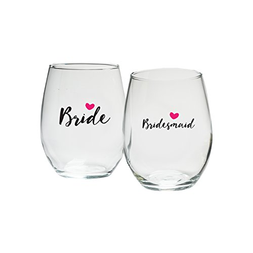 Kate Aspen Bride and Bridesmaids Pink Heart Stemless Wine Glass (Set of 4), 15 oz