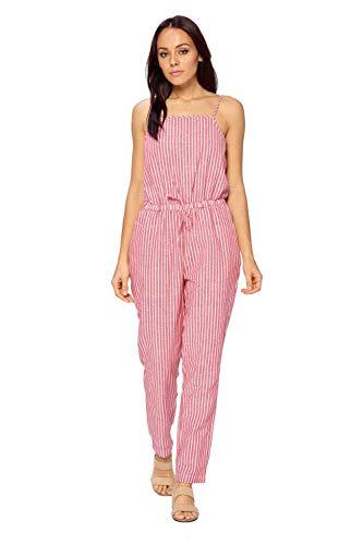 Ci Sono Women's Linen Summer Casual Spaghetti Strap Adjustable Waist Drawstring Short Jumpsuit Striped Romper for Girl (XL, RED/White)