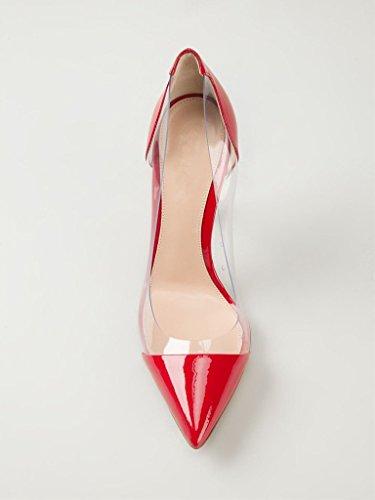 Kolnoo 10CM Damenschuhe Pumps Bequeme Lack Stilettos Transparent Schuhe Rot