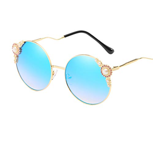 50s Vintage Cat Eye Sunglasses for Womens with Rhinestones Pinup Girl Clothing Rockabilly Accessories (Blue)