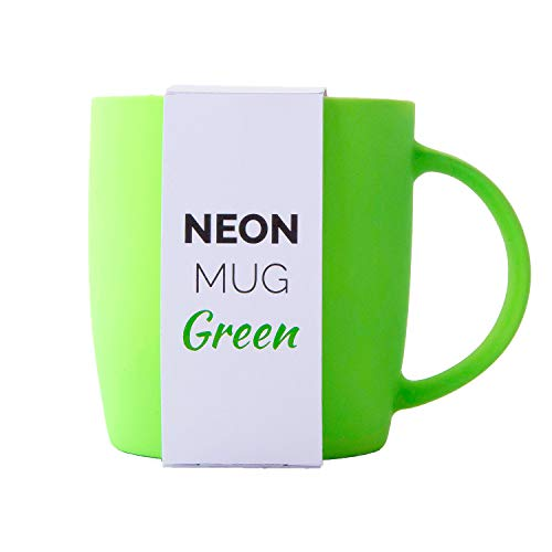 Root7 Neon Mug | Bright, Colorful 12 oz Green Coffee Mug With Silky Soft Touch Rubber Finish | Stylish New Bone China Cup For Office + Home Or A Gift For Women + Men