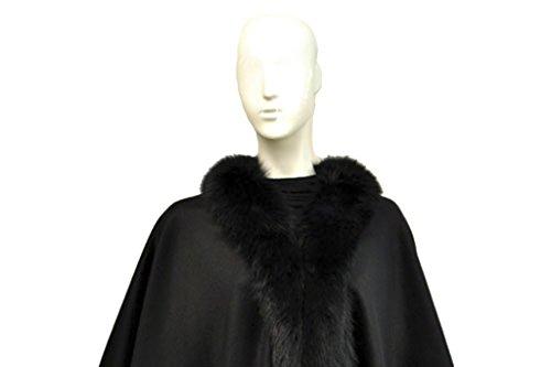 Cashmere Pashmina Group: Cashmere Cape with genuine Fox Fur Trim all around (Ebony)