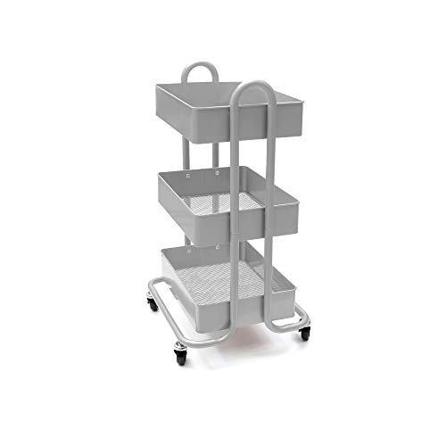 Mind Reader Heavy Duty 3 Tier Metal All Purpose Mobile Utility Cart - Silver