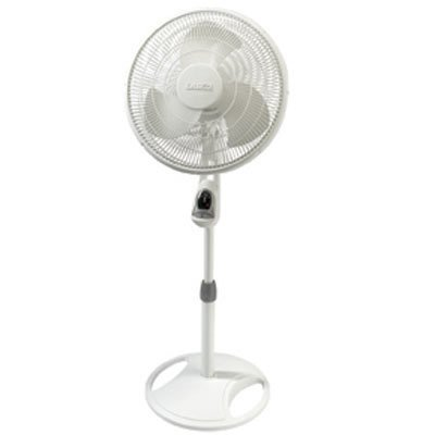 Lasko 1646 16 Remote Control Pedestal Fan with Built-in Timer, White - Features Oscillating Movement and Adjustable Height