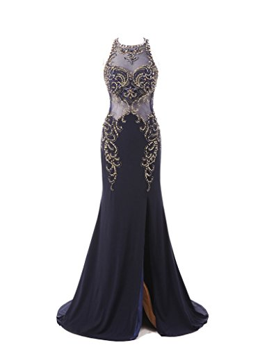 HarveyBridal Luxury Crystal High Slit Backless Formal Evening Dress Navy Blue