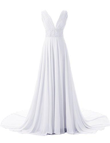 mariage en emperle tra Dresstells col longue Blanc mi V de ne Robe crmonie de de soire Robe zq6gW8Iqr