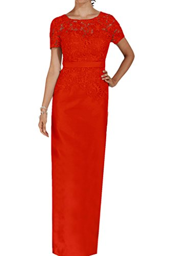 Missdressy vestido de noche para Mujer, largo por la rodilla, mangas de Charmeuse rojo-1