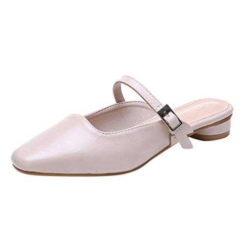 Toimothcn Women Dress Sandals Low Square Heel Buckle Strap Slippers Beach Shoes (Beige,US:7)
