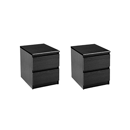 Home Square (Set of 2) 2 Drawer Night Stands in Black Woodgrain 2 Drawer Square Nightstand