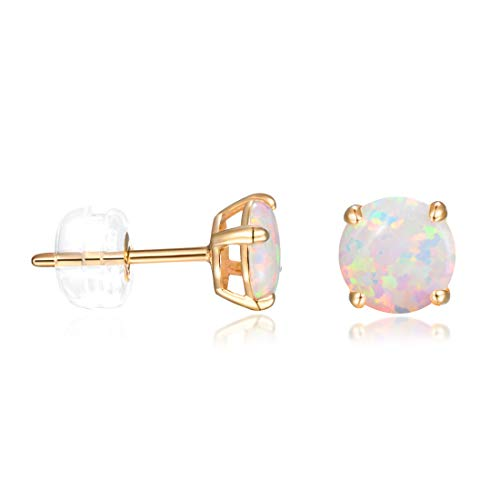 14K Gold Earrings Studs for Women 6mm White Fire Opal Earring Hypoallergenic Jewelry Gifts