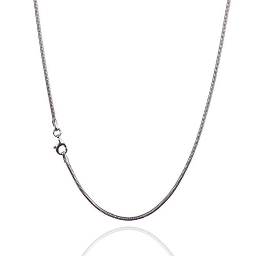 (925 Sterling Silver 1.60 mm Real Snake Chain Necklace with Pear Shape Clasp-Rhodium Finish)
