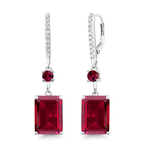 Red Emerald Cut Ruby - Gem Stone King 10.80 Ct Emerald Cut Red Created Ruby 925 Sterling Silver Earrings