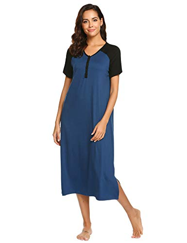Ekouaer Women's Long Nightgown Cotton Nightshirt Button Front Sleepwear Plus Size S-XXL (L, 9856Blue)