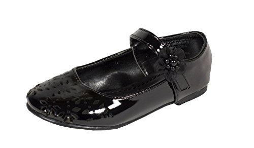 SODA Kid's Girly Flower Cut Out Mary Jane Side Flower Flat Baby Shoes in Black Patent Leather