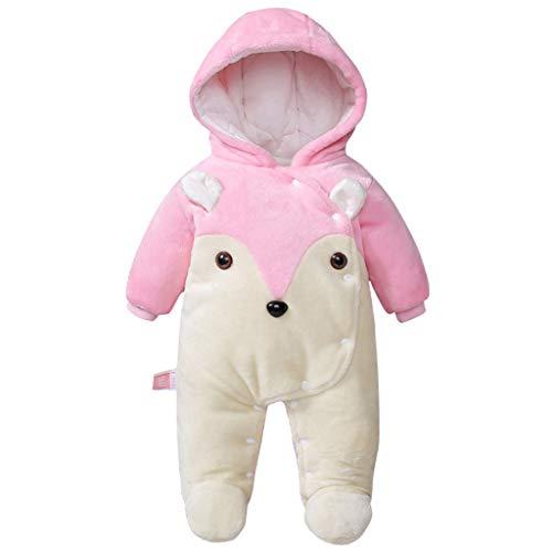Baby Hooded Rompers Flanel Winter Outfits Jongens Meisjes Snowsuits Voeten Overdekt Jumpsuit, 9-12 Maanden