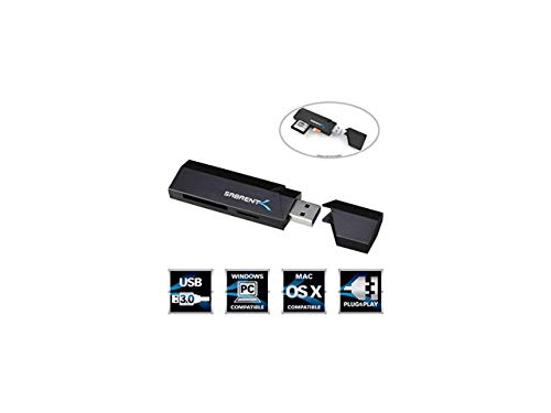 Sabrent SuperSpeed 2-Slot USB 3.0 Flash Memory Card Reader for Windows, Mac, Linux, and Certain Android Systems - Supports SD, SDHC, SDXC, MMC/MicroSD, T-Flash [Black] (CR-UMSS)