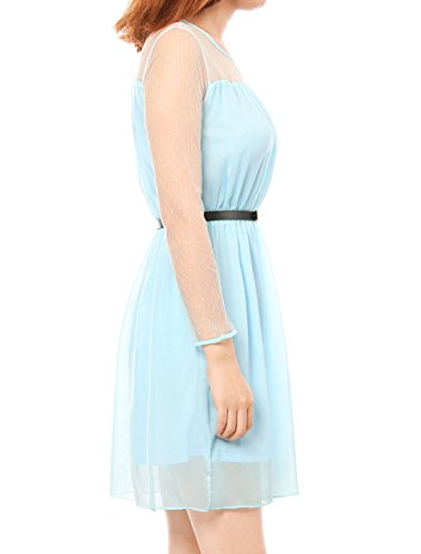 Soft K Womens Splicing Dettagli Punti Spring trasparente Mesh Semi Allegra Azzurro 65WaB6d