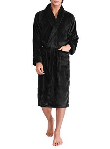 David Archy Men's Fleece Robe Ultra Soft Plush Shawl Collar 3/4 Length Long Bathrobe (L, Black)